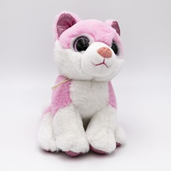 Loup rose yeux brillants 20cm