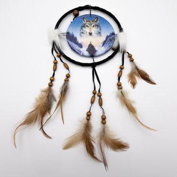 Attrape rêve loup bleu