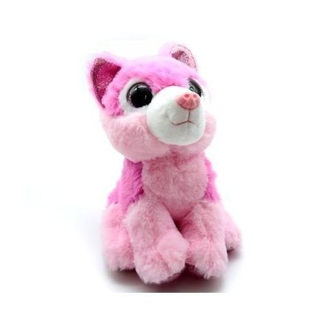 Loup rose vif yeux brillants 20 cm