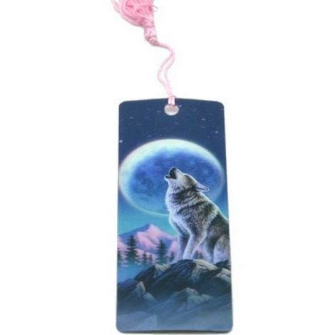 """Marque page 3D """" Loup & Lune"""""""