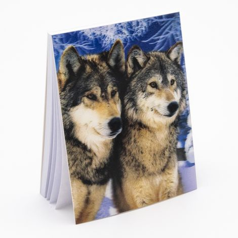 "Bloc note 3D ""Couple de loups"""