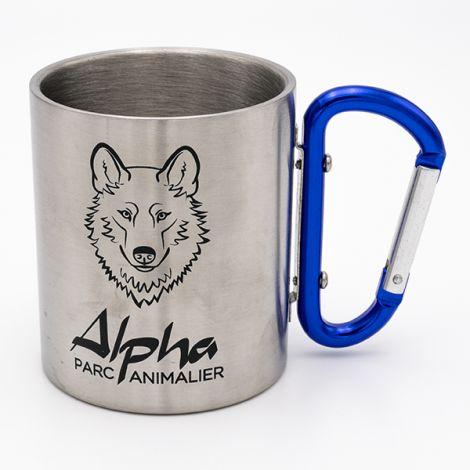 Mug métal mousqueton bleu Alpha