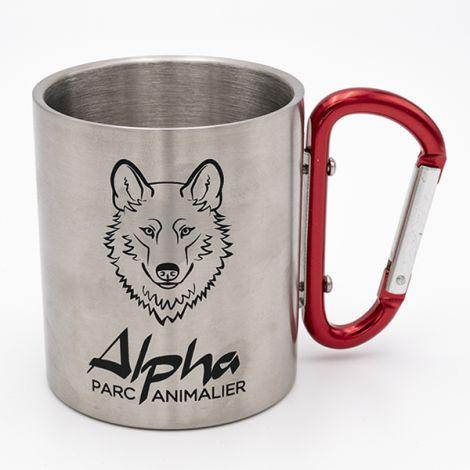 Mug métal mousqueton rouge Alpha