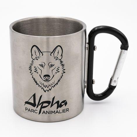 Mug métal mousqueton noir Alpha
