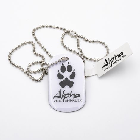 Collier Plaque loup blanche