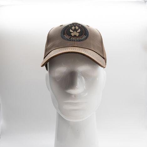 Casquette Alpha - cuir marron écusson noir