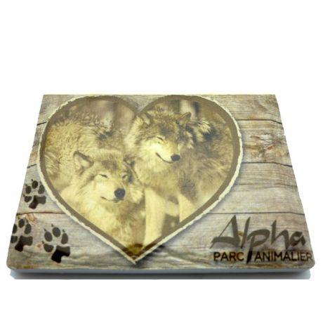 Magnet céramique Loup coeur bois